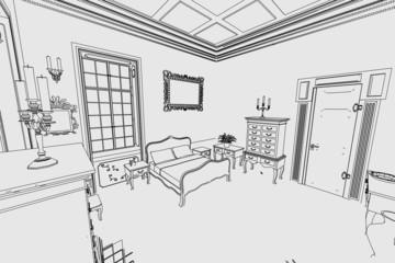cartoon image of manor interior