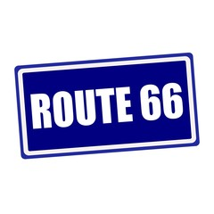 Route 66 white stamp text on blue background