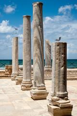 ancient corinthian columns on a background of the blue sky. Caesarea park. Israel
