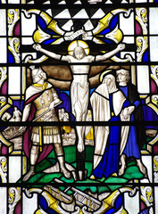 Jesus Christ crucified (stained glass window)