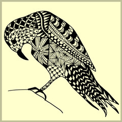 Hand drawn zentangle with a Bird. Use for wallpapers, pattern fills, web pages elements and etc.