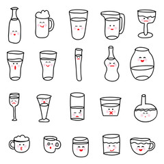 Set of various doodles, hand drawn rough simple sketches of various types of alcoholic and non-alcoholic drinks.