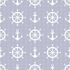 Cute nautical background. Navy vector seamless pattern: anchor, waves and steering wheel.