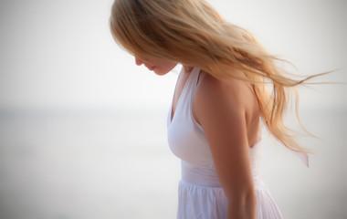 beautiful girl on seashore
