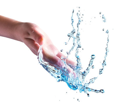 hand with water splash isolated on the white background