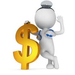 3d white doctor stand with golden dollar sign