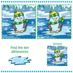 Find differences between the two images unny penguin on ice