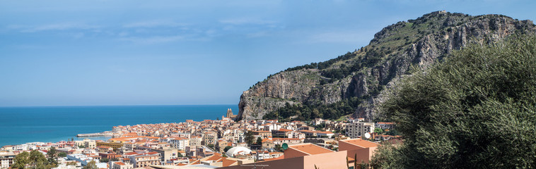 panorama of the town Cefalu, Sicily, Italy