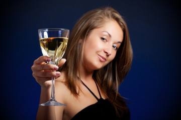beautiful girl with glass of wine