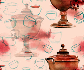 A seamless background pattern of watercolor tea-themed drawings