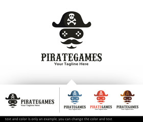 Pirate Games Logo Design Template