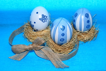 Easter eggs on a blue background