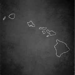 Hawaii map blackboard chalkboard vector