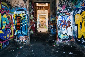 Graffiti under an abandoned pier in Philadelphia, Pennsylvania.