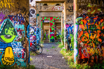 Graffiti under an abandoned pier in Philadelphia, Pennsylvania.