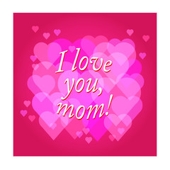 vector Happy Mother's Day text with heart in red and purple colo