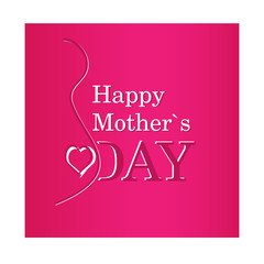 vector Happy Mother's Day text with pregnancy silhouette in purp