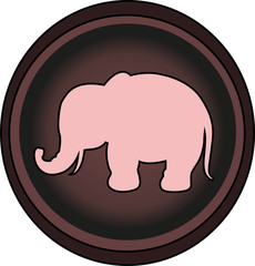 Vector illustration of a pink elephant's silhouette on a round background