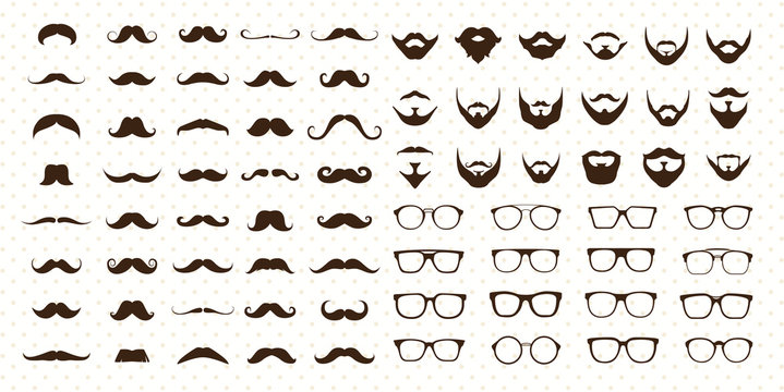 Mustaches, Beard and Sunglasses style set
