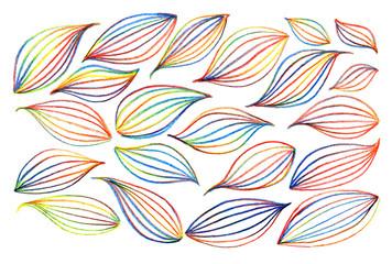 Rainbow colorful leaf isolated set