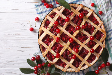 American homemade cherry pie horizontal top view