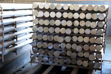 Aluminium bars made from melted aluminium.