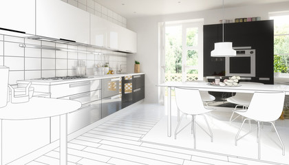 Cute designed kitchen (drawing)