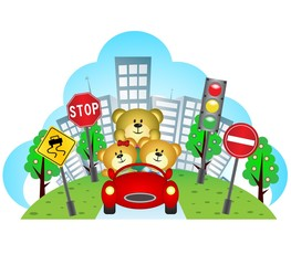 Happy bears on a car with city background and traffic sign