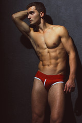 Male swimwear & underwear concept. Portrait of handsome muscular