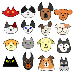 Face set of dogs and cats