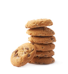 Pile of round cookies isolated