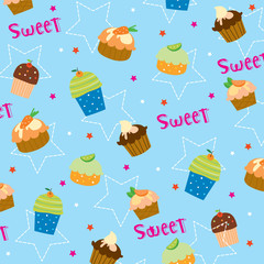 Cupcake sweet cute cartoon Gift Wrapping design Vector