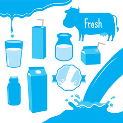 Cow Milk Packaging Blue Icon Cartoon Vector Design