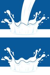 Milk, yogurt or cream blot. White smudge on blue background.