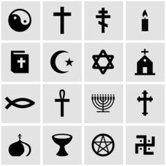 Vector black religion icon set