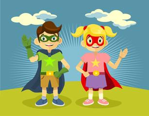 Children superheroes. Vector flat illustration