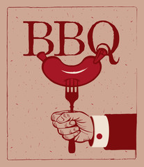banner with barbecue on fork in hand
