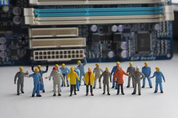 Miniature Network Engineers At Work