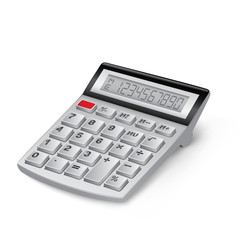 The white calculator on the white background