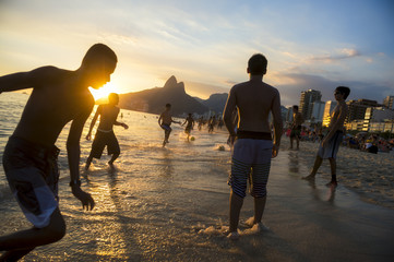 Brazil Beach Soccer Sunset on Ipanema Beach