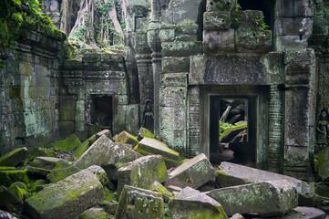 Crumbling Stone Architecture Ta Prohm Angkor Cambodia