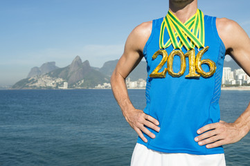Gold Medal 2016 Athlete Standing Ipanema Beach Rio