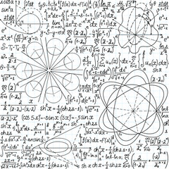 Math vector seamless with figures, formulas and equations