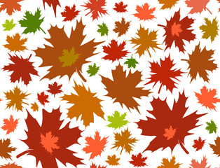 Vector seamless pattern with maple leaves