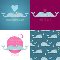 set of 4 romantic greeting cards with whales