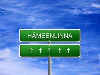 Hameenlinna City Finland Sign