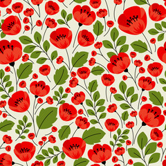 Retro red poppies seamless pattern