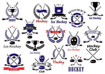 Ice hockey sport game heraldic emblems