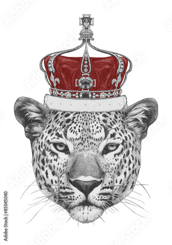 original drawing of leopard with crown isolated on white background