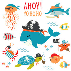 Set of cute undersea pirate design elements